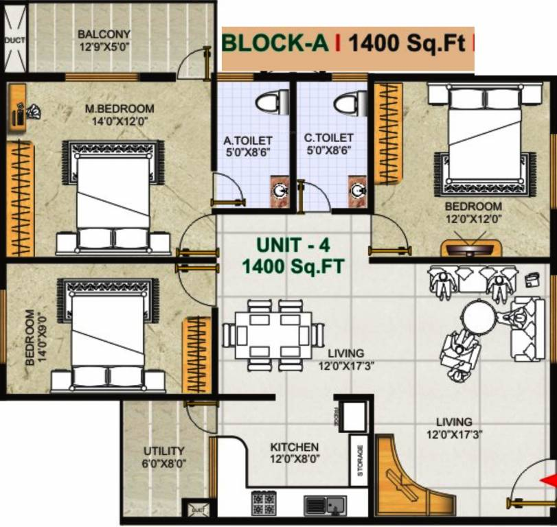 1400 sq ft 3 bhk 2t apartment for sale in gk shelters for 1400 sq ft