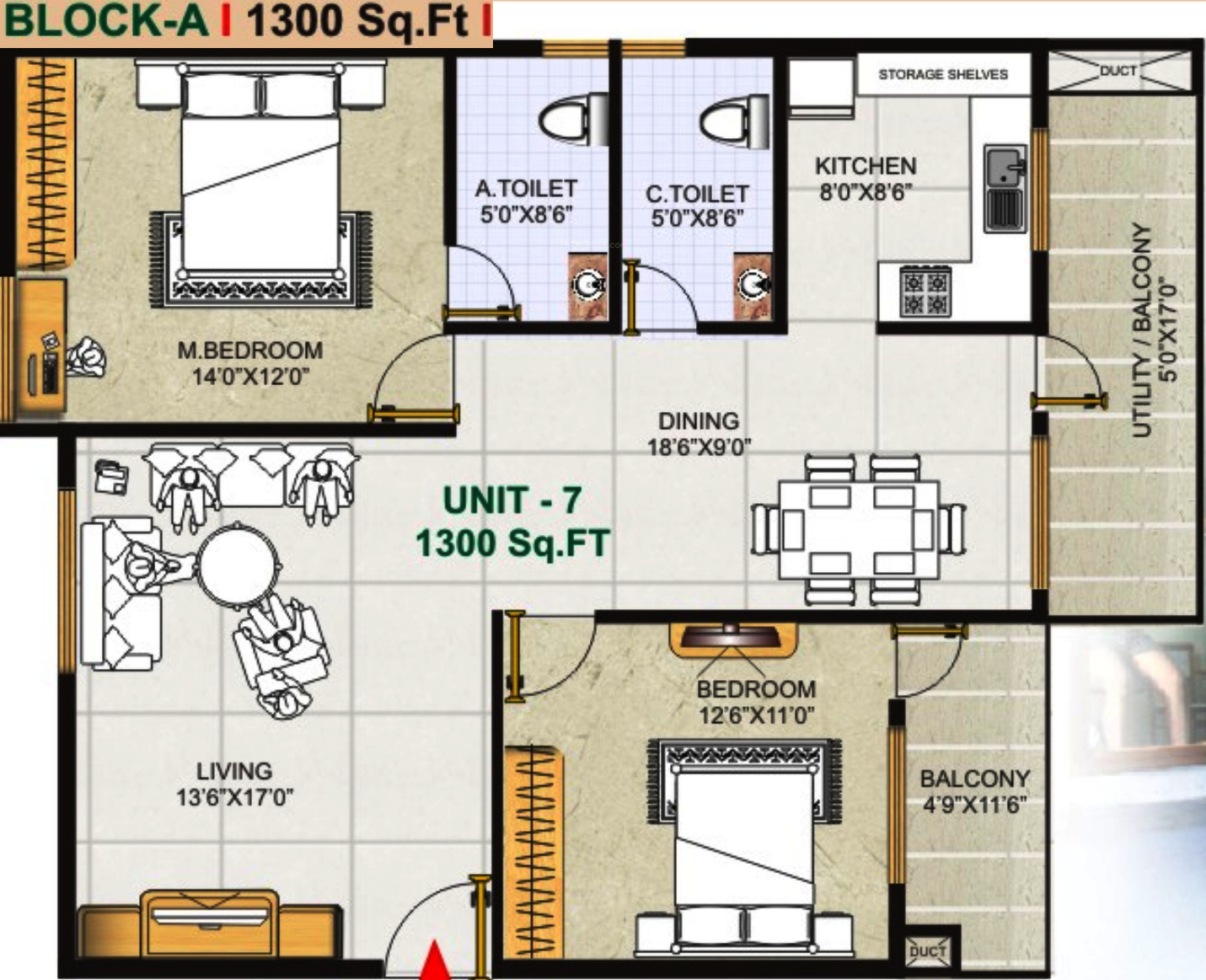 1300 Sq Ft 2 Bhk 2t Apartment For Sale In Gk Shelters