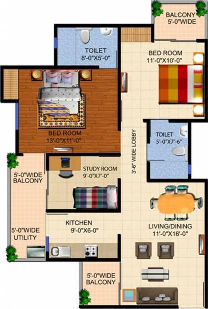 Ajnara Panorama (2BHK+2T (1,155 sq ft) + Study Room 1155 sq ft)