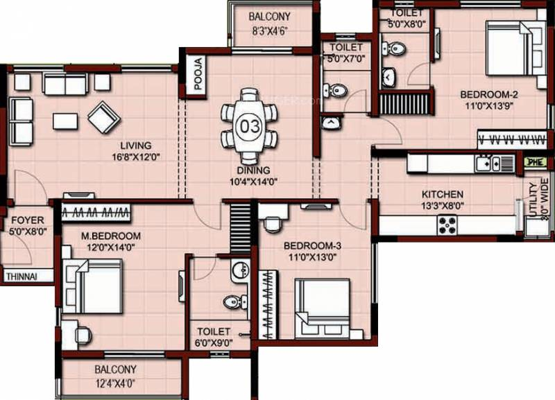 XS Real Properties Siena (3BHK+3T (1,872 sq ft) 1872 sq ft)