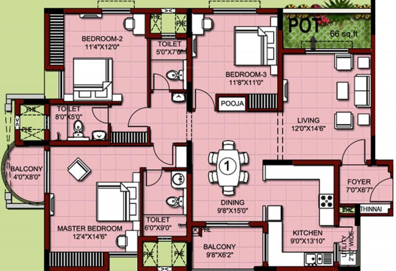 XS Real Properties Siena (3BHK+3T (1,915 sq ft) 1915 sq ft)