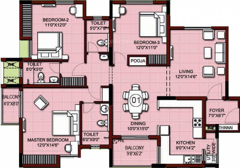 XS Real Properties Siena (3BHK+3T (1,934 sq ft) 1934 sq ft)