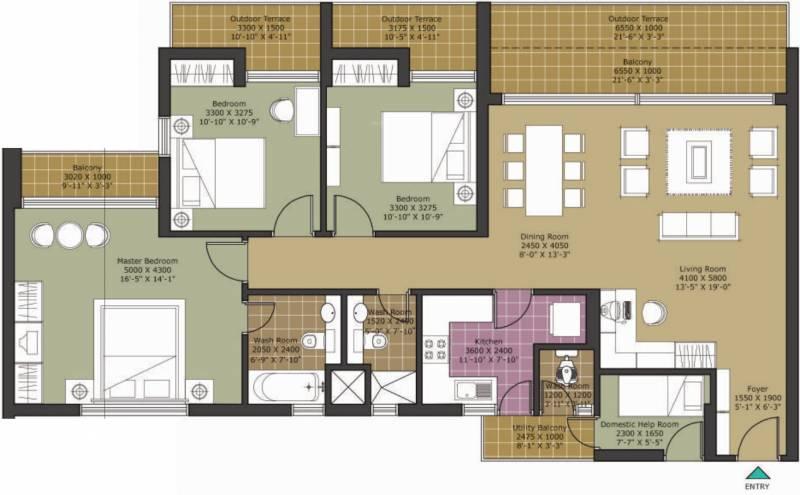 Unitech Harmony (3BHK+3T (1,893 sq ft)   Servant Room 1893 sq ft)