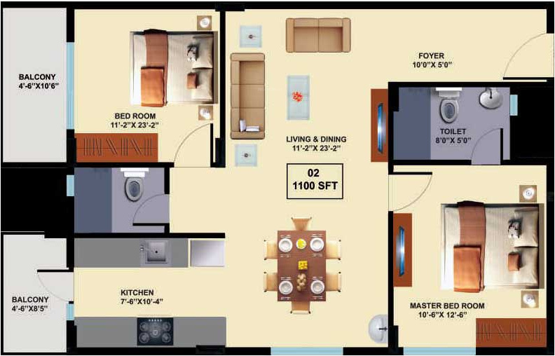 1100 sq ft 2 bhk 2t apartment for sale in innovative for 1100 sq ft apartment floor plan