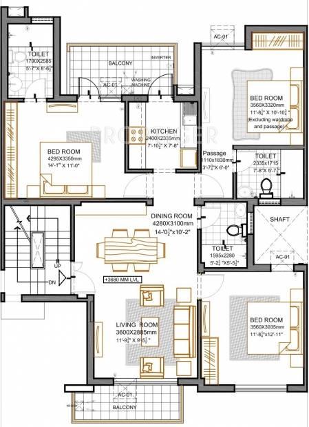 Vatika Primrose Floors (3BHK+3T (1,094 sq ft) 1094 sq ft)