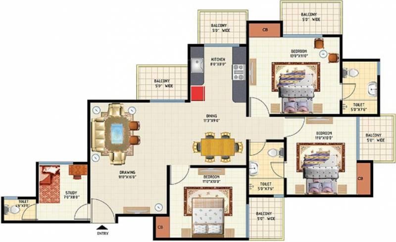 Amrapali Princely Estate (3BHK+3T (1,540 sq ft) + Study Room 1540 sq ft)