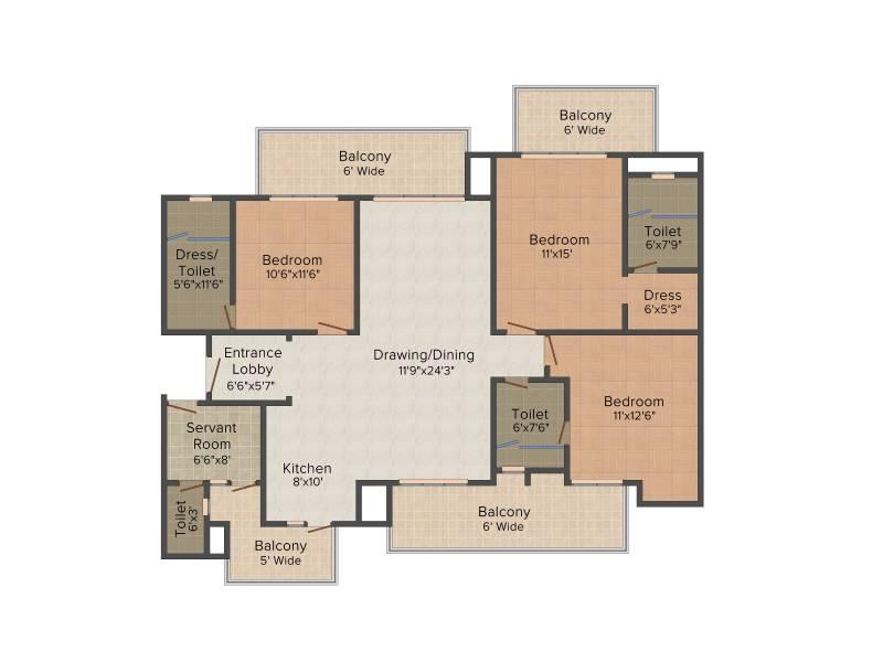 Supertech Araville (3BHK+4T (2,215 sq ft) + Servant Room 2215 sq ft)