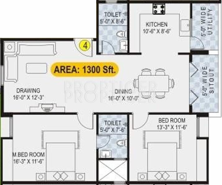 1300 Sq Ft 2 Bhk Floor Plan Image Lotus Developers
