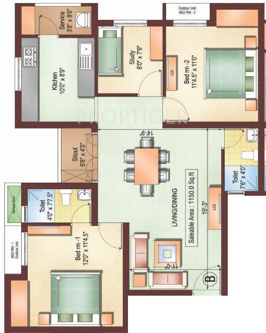 1150 Sq Ft 3 Bhk 2t Apartment For Sale In Vishranthi Homes