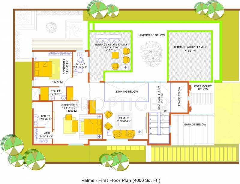 4000 sq ft 4 bhk floor plan image confident group gold for Floor plans gold coast