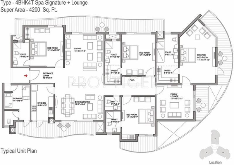 4200 sq ft 4 bhk floor plan image bestech park view for 4200 sq ft house plans