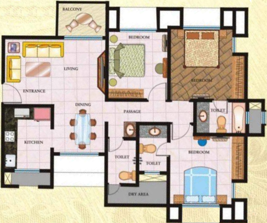 1500 sq ft 3 bhk 3t apartment for sale in regency group for 1500 sq ft apartment floor plan