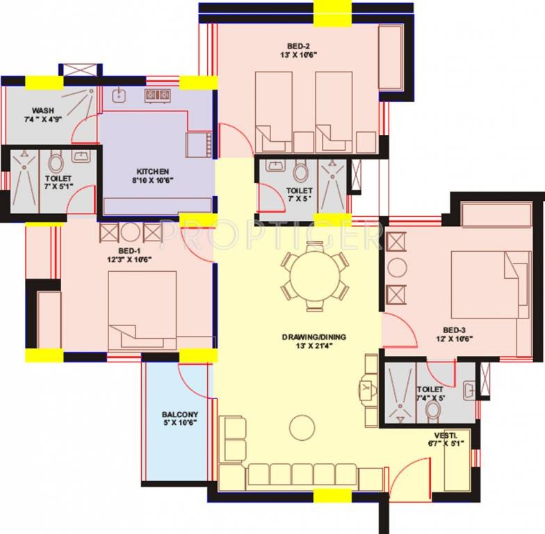 1599 sq ft 3 BHK 3T Apartment for Sale in Chaitanya ...