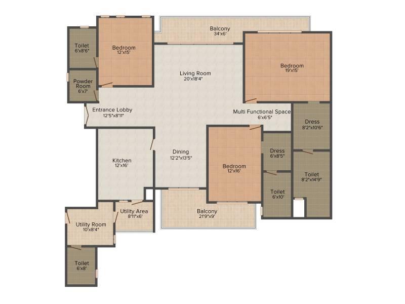 Experion Windchants (3BHK+4T (3,600 sq ft) + Servant Room 3600 sq ft)
