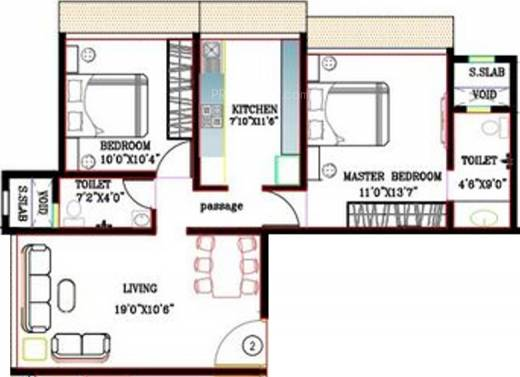 1120 sq ft 2 bhk 2t apartment for sale in kabra vihang for 1120 westchester place floor plan