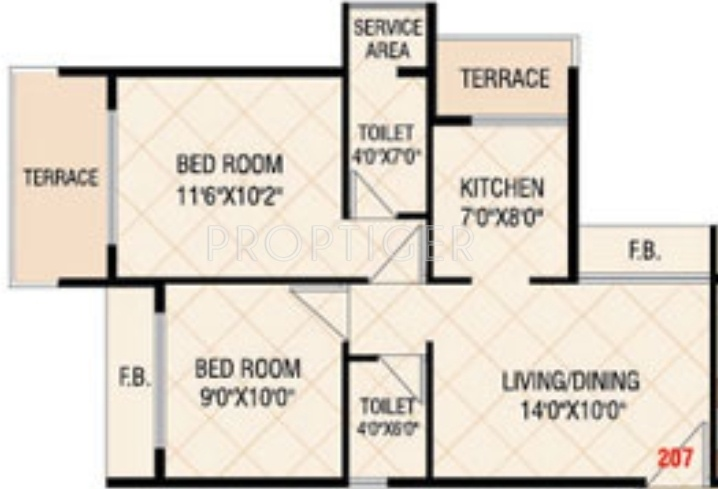 650 sq ft 2 bhk 2t apartment for sale in today empire for Single bedroom house plans 650 square feet
