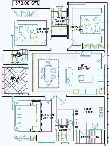 Pavani Chandana (3BHK+3T (1,370 sq ft) 1370 sq ft)