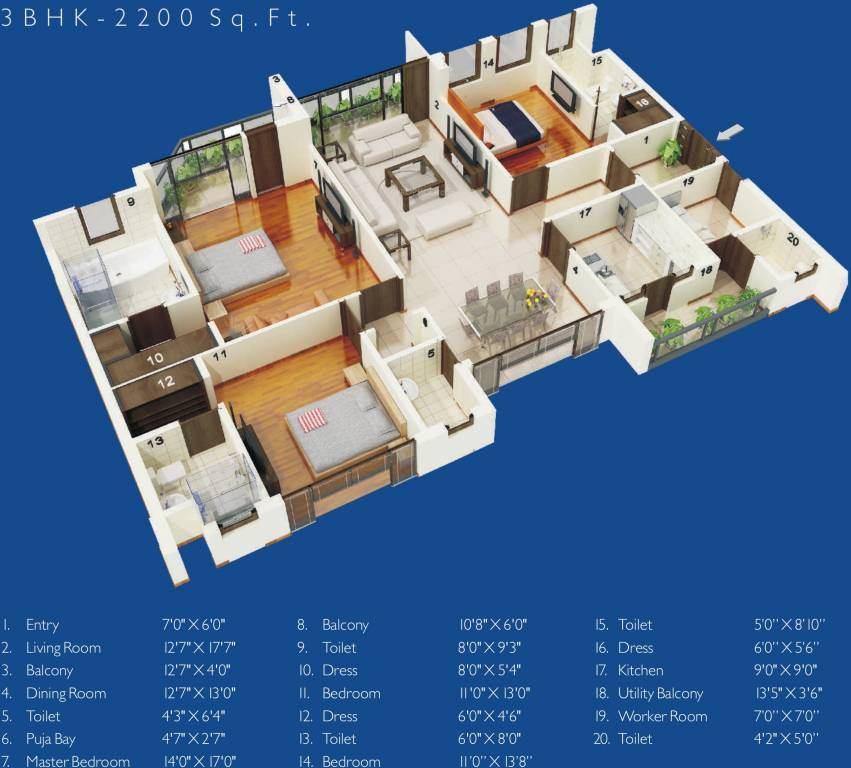 House Plan For 16 Feet By 54 Feet Plot Plot Size 96: 2200 Sq Ft 3 BHK 4T Apartment For Sale In Jaypee Greens