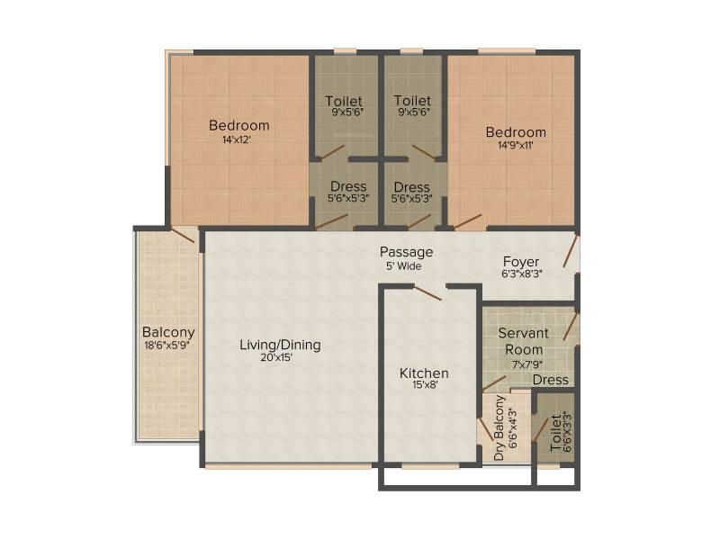 Jaypee Kristal Court (2BHK+3T (1,850 sq ft) 1850 sq ft)