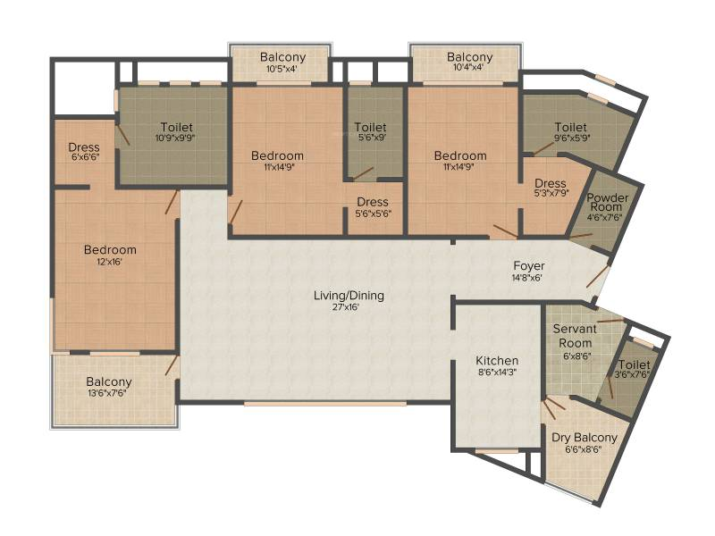 Jaypee Kristal Court (3BHK+4T (2,700 sq ft) 2700 sq ft)