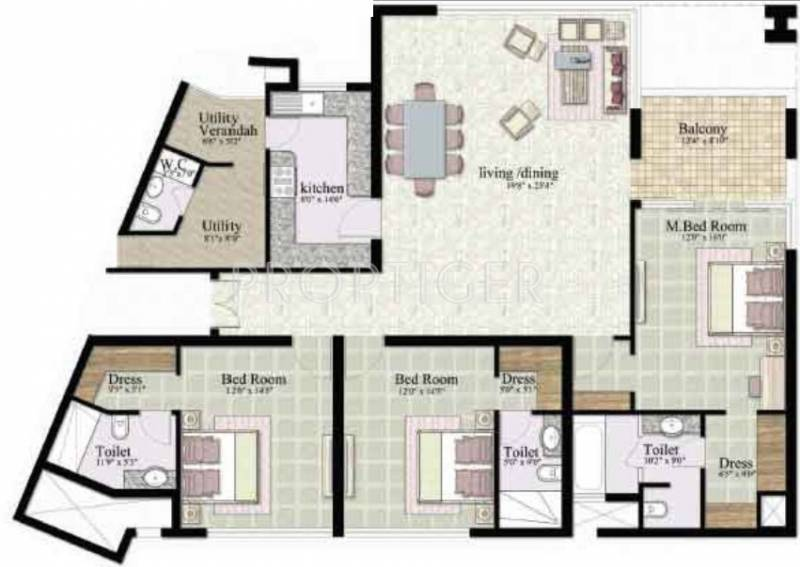 Jaypee The Kalypso Court (3BHK+3T (2,430 sq ft) 2430 sq ft)