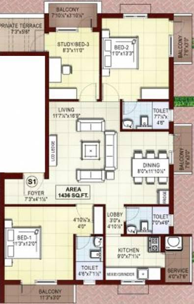 Rajkham Orchid (3BHK+3T (1,436 sq ft) 1436 sq ft)