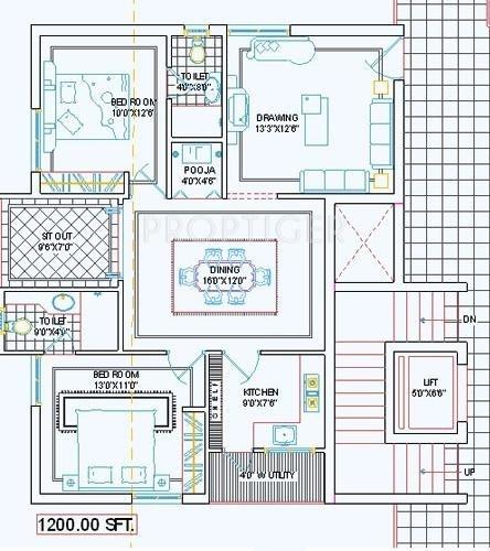 Pavani Chandana (2BHK+2T (1,200 sq ft)   Pooja Room 1200 sq ft)