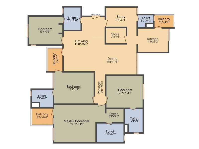 MI Stellar MI Legacy (4BHK+5T (2,738 sq ft)   Study Room 2738 sq ft)