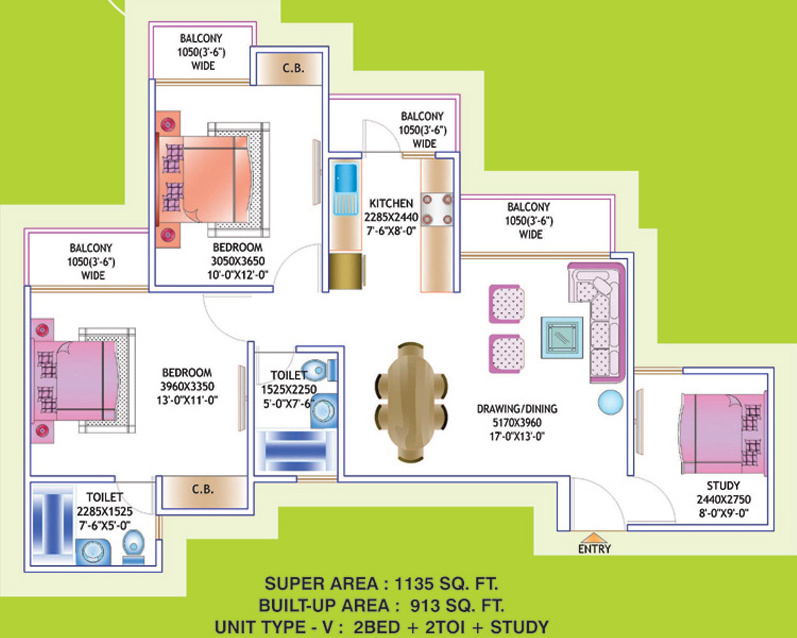 1135 Sq Ft 2 Bhk 2t Apartment For Sale In Prateek Group