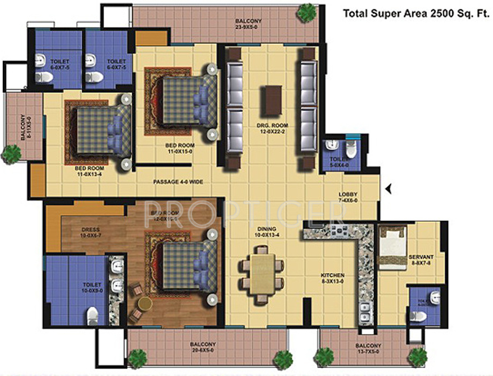 2500 sq ft 3 bhk 5t apartment for sale in the antriksh for Apartment floor plans 2500 sq ft
