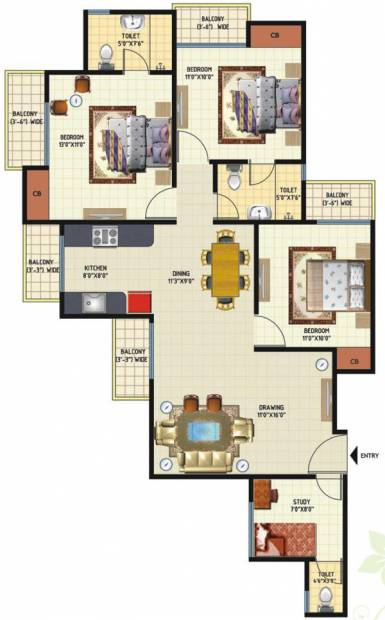 Amrapali Princely Estate (3BHK+2T (1,415 sq ft) + Study Room 1415 sq ft)