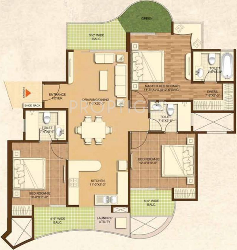 1900 Sq Ft 3 Bhk 3t Apartment For Sale In Dasnac The Jewel