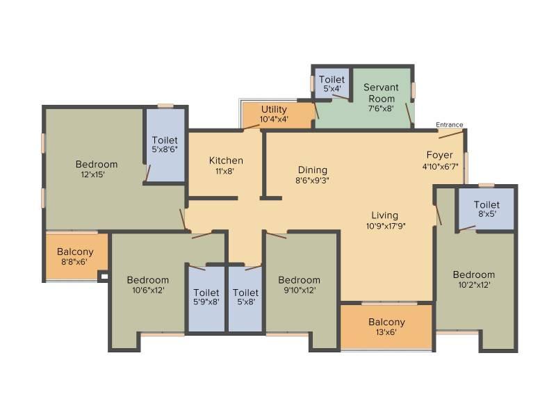 Ozone Greens (4BHK+4T (2,574 sq ft) + Servant Room 2574 sq ft)