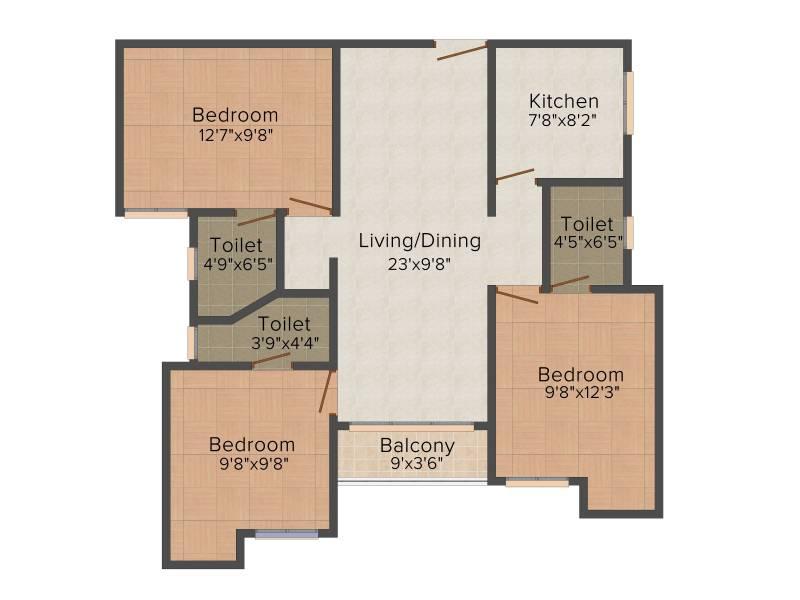 Infra Infra Prosper (3BHK+3T (1,128 sq ft) + Pooja Room 1128 sq ft)