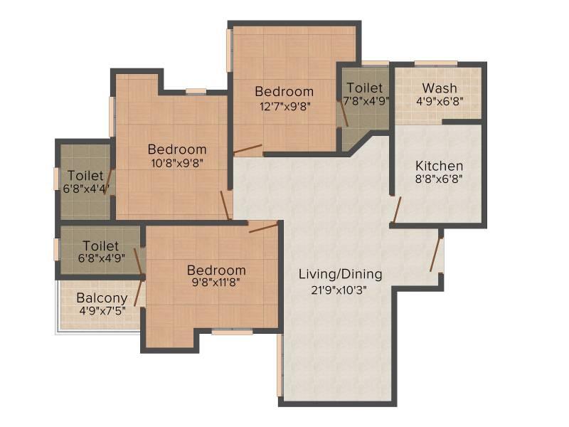 Infra Infra Prosper (3BHK+3T (1,255 sq ft) + Pooja Room 1255 sq ft)