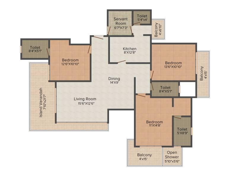 Puri Emerald Bay (3BHK+3T (2,450 sq ft) + Servant Room 2450 sq ft)