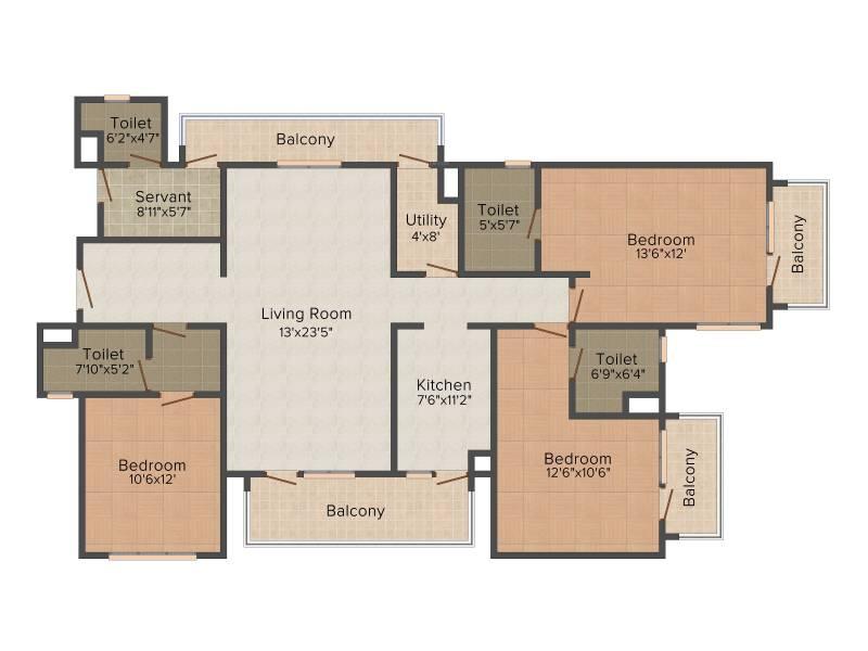 Umang Winter Hills (3BHK+3T (2,077 sq ft) + Servant Room 2077 sq ft)