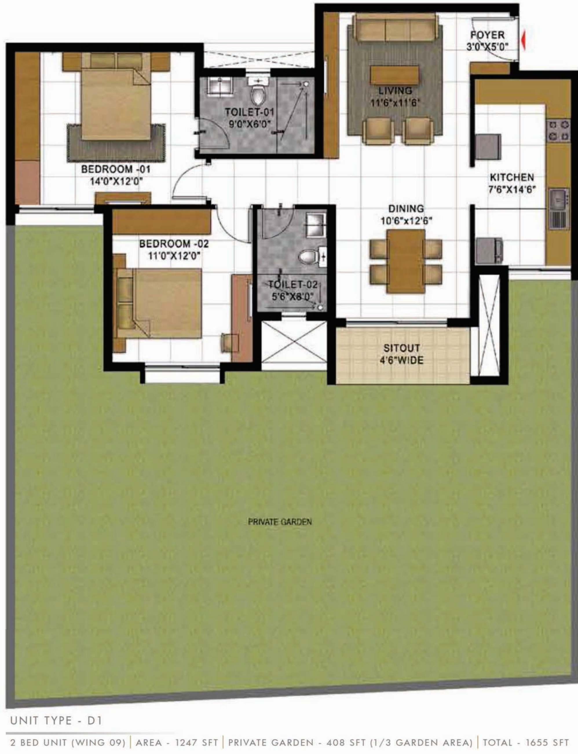 1655 Sq Ft 3 Bhk 3t Apartment For Sale In Prestige Group