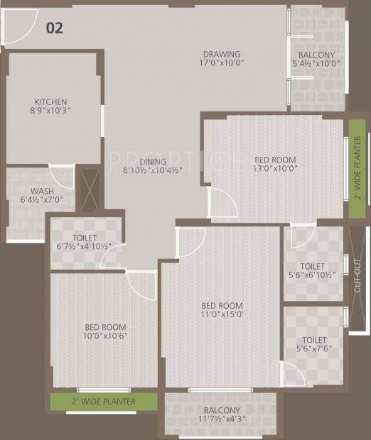 Goyal Orchid Woods (3BHK+3T (1,418 sq ft) 1418 sq ft)