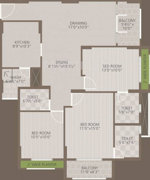 Goyal Orchid Woods (3BHK+3T (1,534 sq ft) 1534 sq ft)