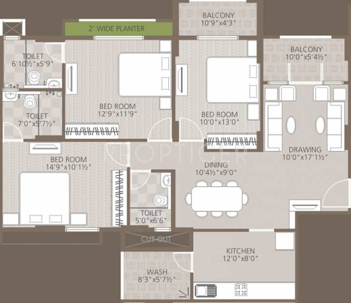 Goyal Orchid Woods (3BHK+3T (1,518 sq ft) 1518 sq ft)