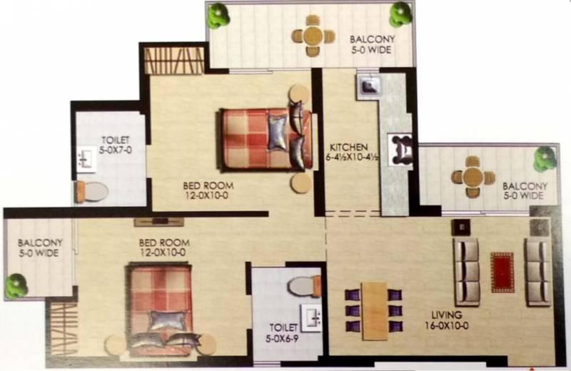 Uppal Casa Woodstock (2BHK+2T (1,060 sq ft) 1060 sq ft)