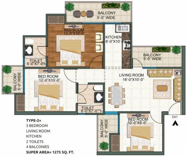 1275 sq ft 3 bhk floor plan image uppal group casa for Sq ft prezzo per costruire casa