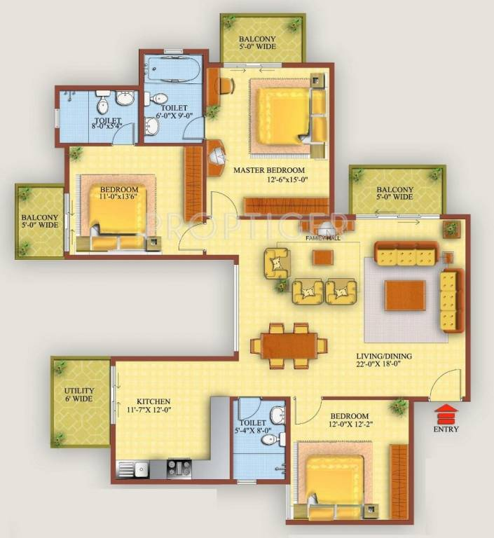 1900 Sq Ft 3 BHK 3T Apartment For Sale In Golden Gate