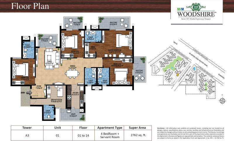 M3M Woodshire (4BHK+4T (2,762 sq ft) + Servant Room 2762 sq ft)