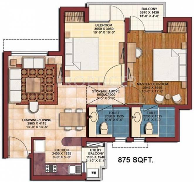875 sq ft 2 bhk floor plan image earthcon casa royale for Sq ft prezzo per costruire casa