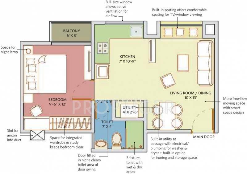 550 sq ft 1 bhk floor plan image patel smondo 3 for 1 bhk floor plan