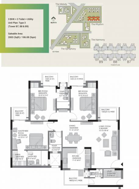 Experion The Heartsong (3BHK+3T (2,003 sq ft) + Servant Room 2003 sq ft)