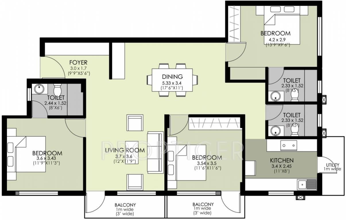 1600 sq ft 3 bhk 3t apartment for sale in skanda sukriti for 1600 ft floor plans