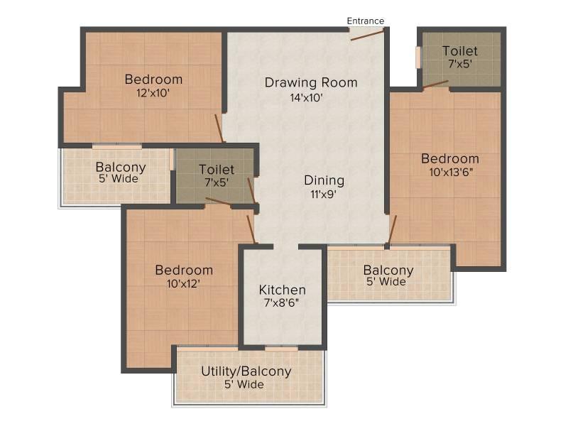 Ajnara Homes (3BHK+2T (1,290 sq ft) 1290 sq ft)